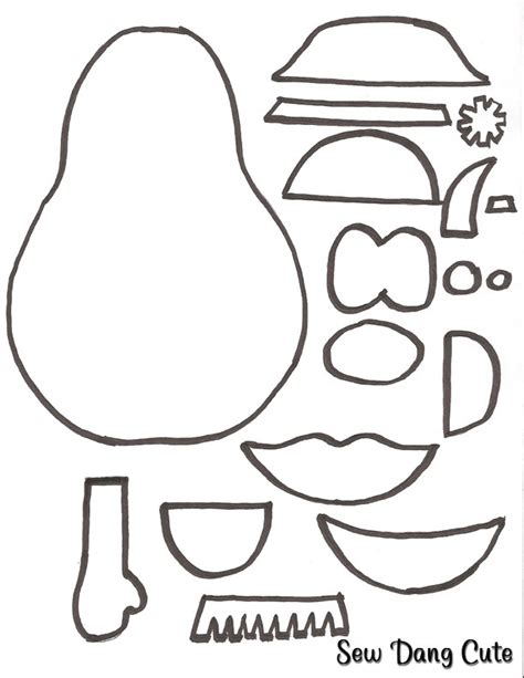 mr potato felt template free coloring pages of mr potato cut out
