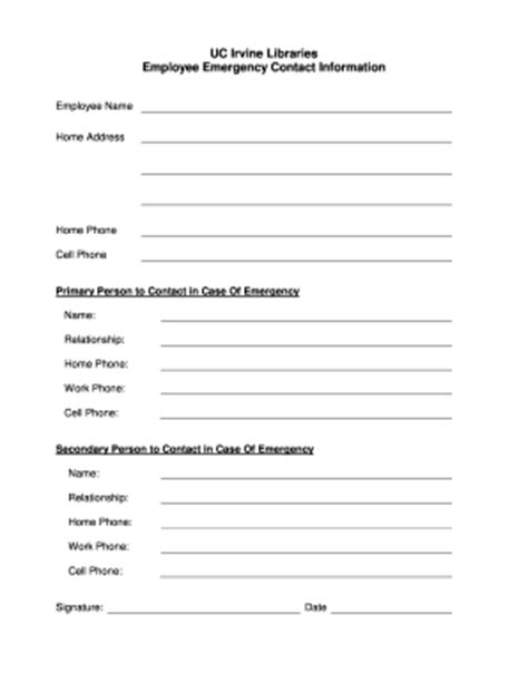 Employee Emergency Contact Form Templates Fillable Printable Sles For Pdf Word Pdffiller Emergency Contact Form Template For Employees