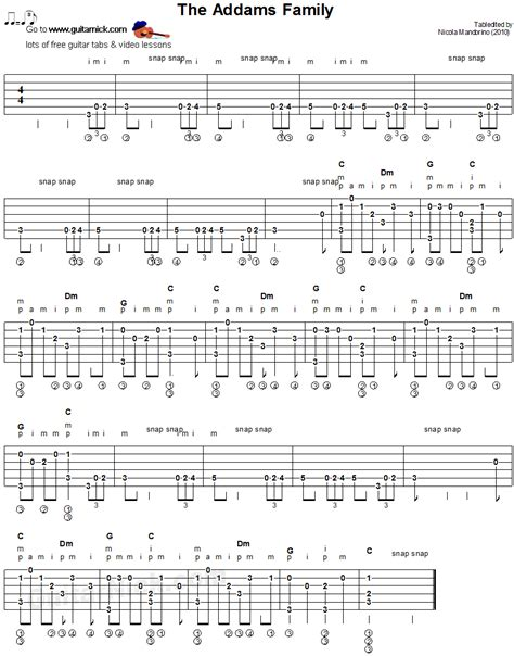 tutorial fingerstyle the addams family fingerstyle guitar tablature sheet