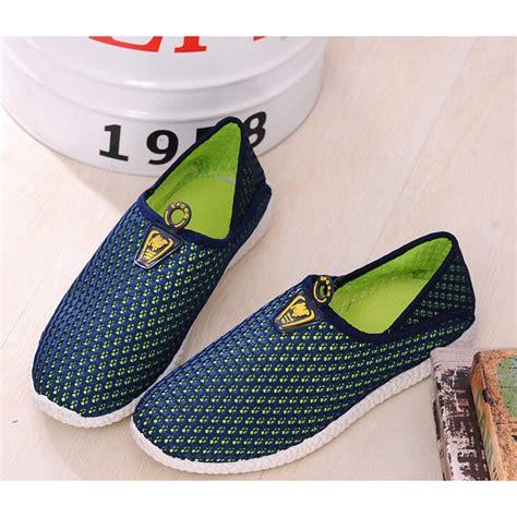 Sepatu Mesh sepatu slip on mesh pria size 42 green blue