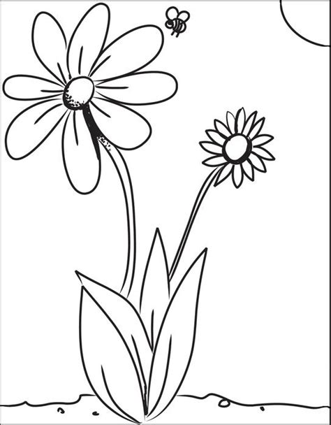 coloring pages of flowers and bees free printable flower and bee coloring page for