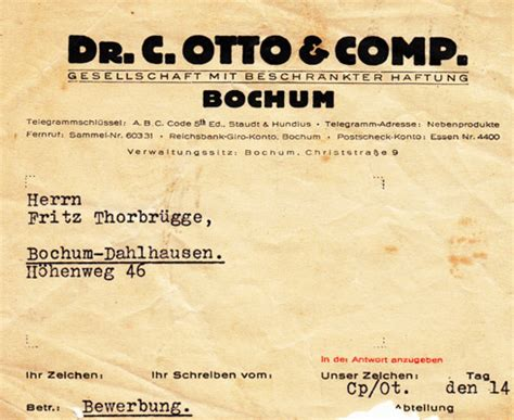 Absage Bewerbung Derzeit Kein Bedarf Historisches Bochumer Ehrenfeld Bilderserie Papiersachen Mit Bezug Zum Ehrenfeld