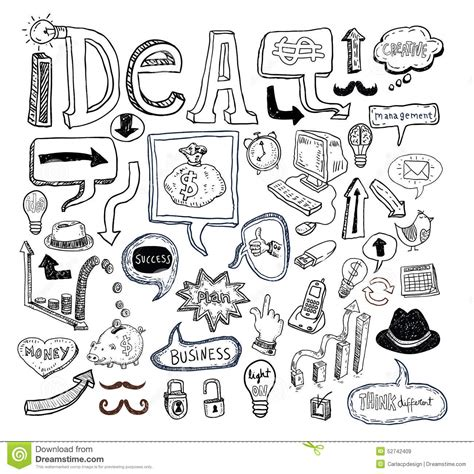 doodle 4 my invention idea and finance icons doodle set vector illustration