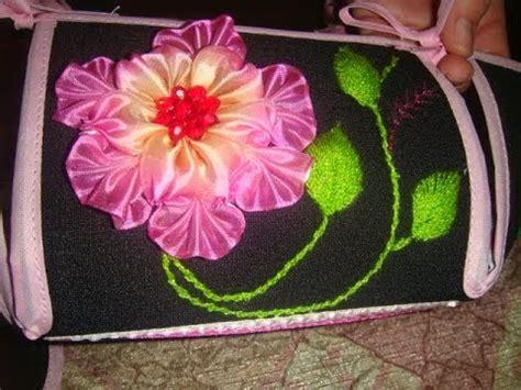 como hacer bordados con flores de liston bordado fantasia flor de liston tapa panera primera parte