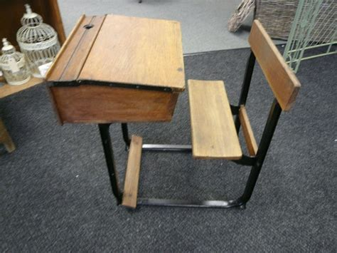 old school desk with fold away seat 1920s solid wood desk