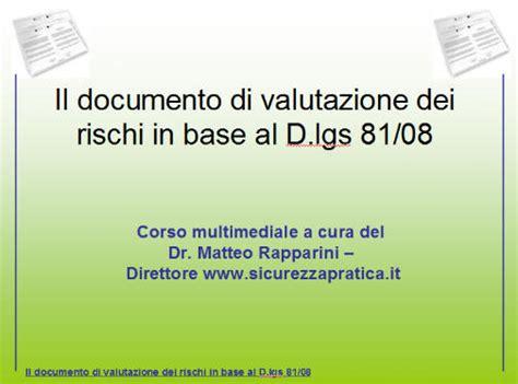 documento valutazione rischi ufficio www sicurezzapratica info corso documento valutazione dei