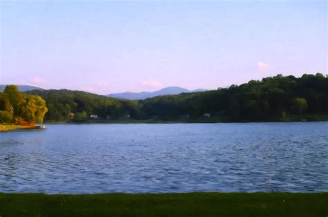 sundown chris lake smoky mtn sunset from lake junaluska digital art by chris