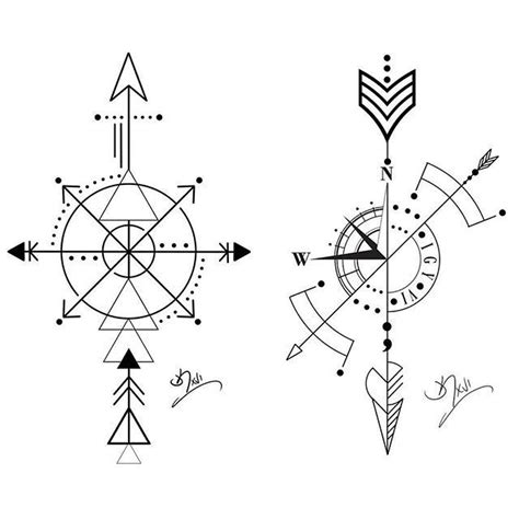 geometric compass tattoo arrow compass tattoos compass arrow wednesday