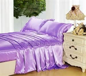 purple seam plain silk satin quilt cover bedding