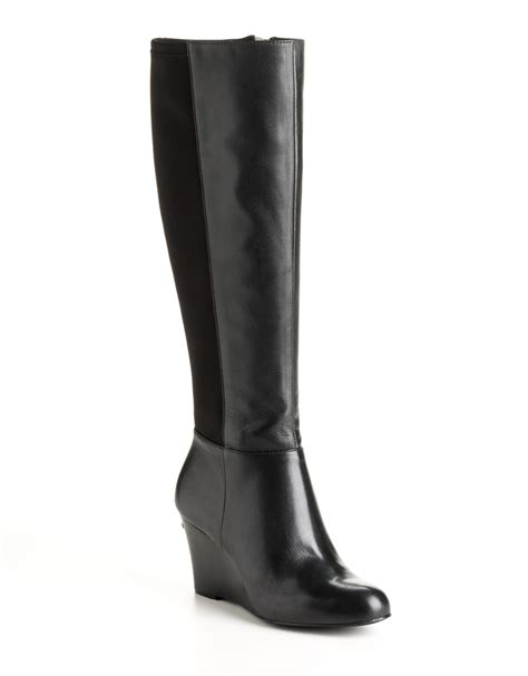 michael michael kors bromley leather wedge boots in black
