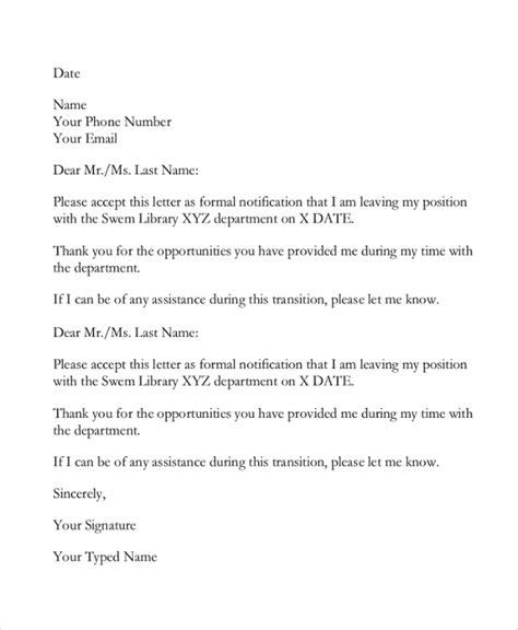 sample email resignation letter templates
