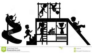 silhouettes children on playground royalty free stock