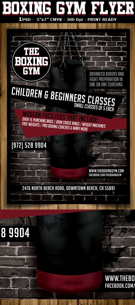 boxing gym flyer template flyerstemplates