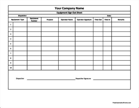Best Photos Of Equipment Sign Out Sheets Printable Equipment Sign Out Sheet Equipment Sign Blanket Warmer Temperature Log Template