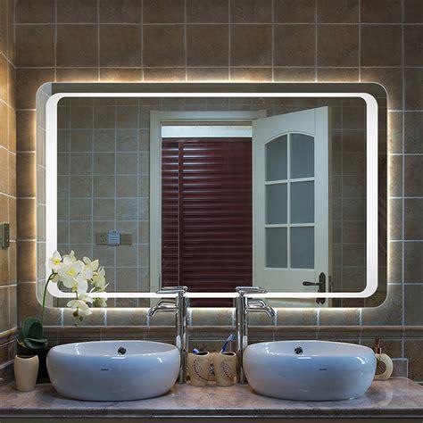 Led Illuminated Bathroom Mirror by Modern Large Heated White Led Illuminated Bathroom Mirror