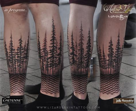 black and grey forest tattoo 18 simple forest tattoo designs