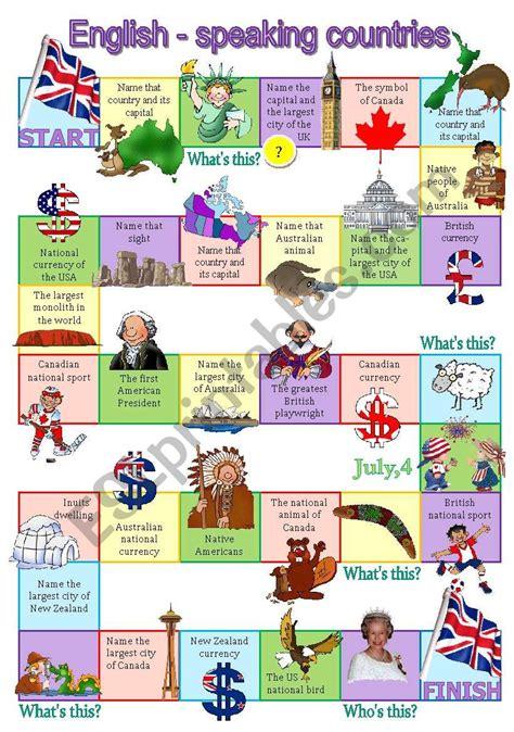 Speaking Countries Worksheet