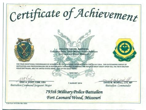 certificate of achievement template army army certificate of achievement