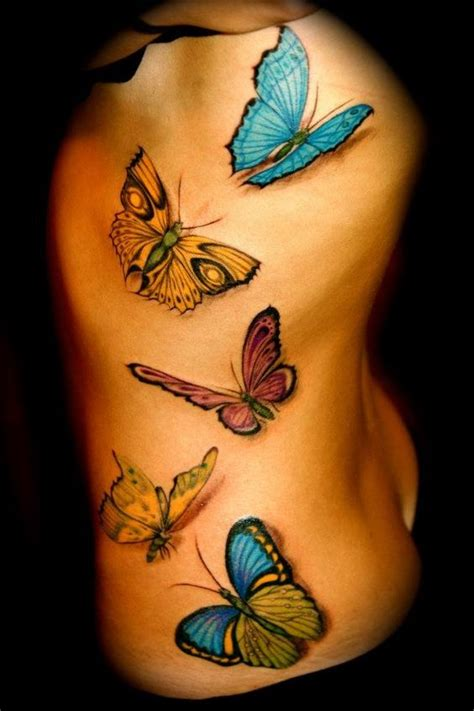 three dimensional 3d butterflies tattoo on side by monte