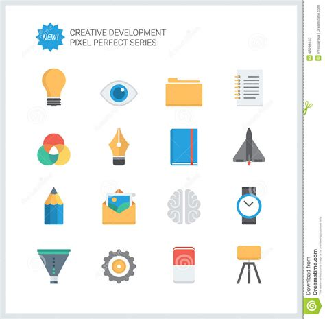 icon design workflow pixel perfect creative development flat icons stock vector
