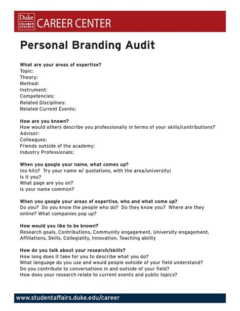Personal Branding Audit Brand Audit Template