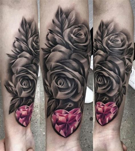 red and white rose tattoo pink black and white tattoos