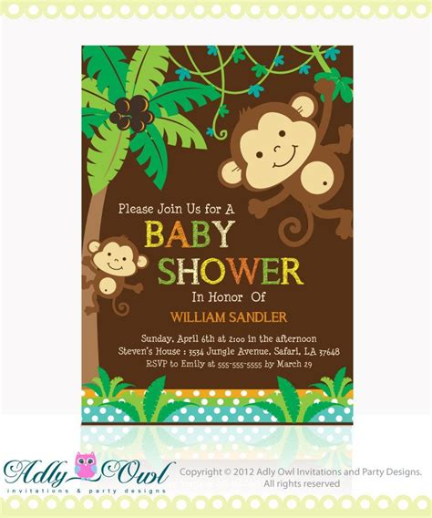 Monkey Baby Shower Invitation by Personalized Jungle Monkeys Baby Shower Printable Diy