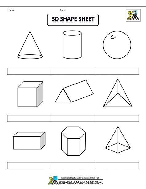 printable math worksheets shapes 3d geometric shapes sheet bw nolab gif 1000 215 1294