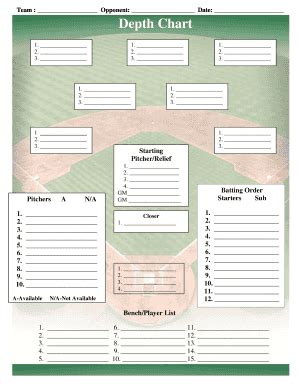 baseball lineup template fill online printable