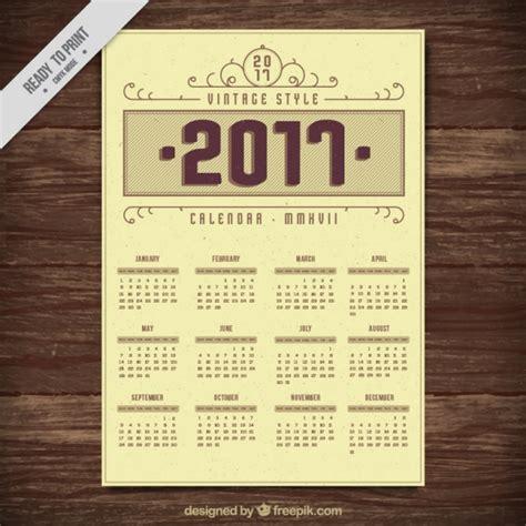 Calendar 2018 Vintage 2017 Vintage Style Calendar Vector Free