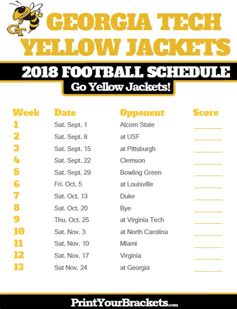 Tech Football Schedule 2018 Printable 2018 printable tech yellow jackets football