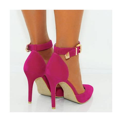 fuchsia pink faux suede ankle stiletto high heels