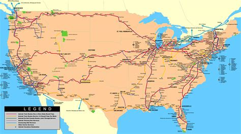 map usa routes rick s travelin partners us canadian rail travel