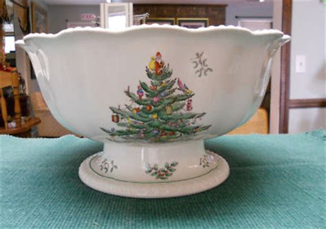 copeland spode christmas tree punch bowl old mark rare
