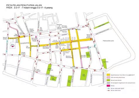 new year parade map road closure in conjunction with penang new year