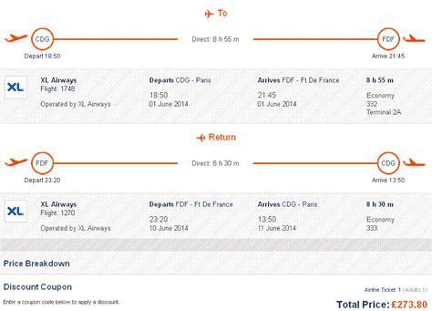 cheap  stop flights  martinique  paris