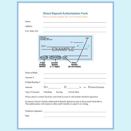 direct deposit authorization form templates download