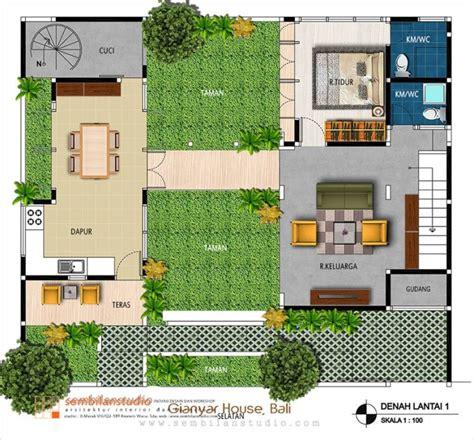 desain gudang sederhana rumah dengan taman tengah sumber sembilantudio com