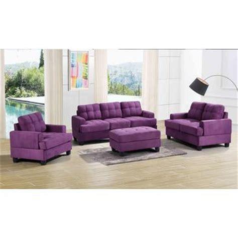 purple living room set glory furniture 3 piece living room set in purple suede