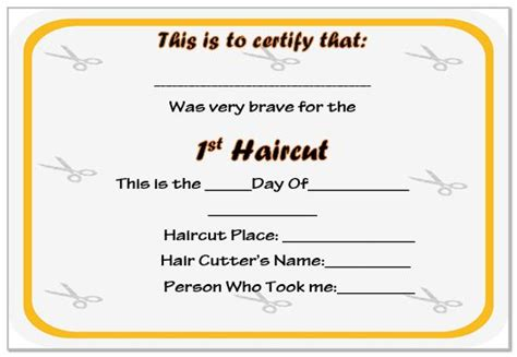 my haircut certificate template 20 free baby s haircut certificate templates