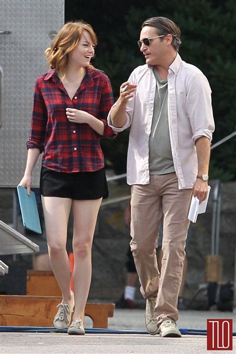 emma stone woody allen movie emma stone and joaquin phoenix on the set of woody allen s