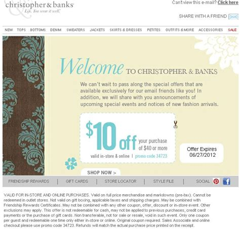 christopher and banks in store coupons