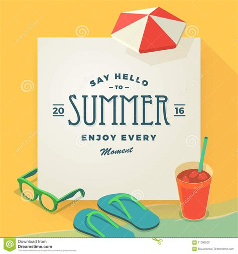 say hello to summer template stock vector image 71096520