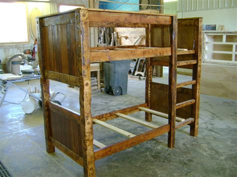 Hand Made Twin On Twin Reclaimed Barnwood Bunk Bed By Made Bunk Beds