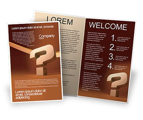 question mark in 3d brochure template design and layout