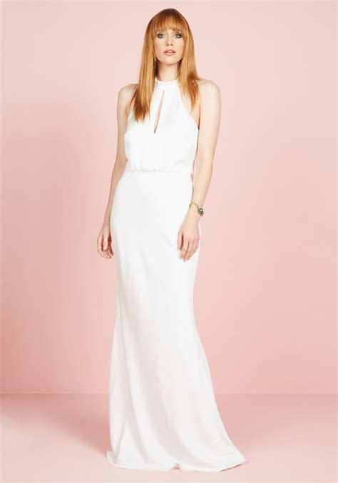 magnificent mrs maxi dress in white mod retro vintage