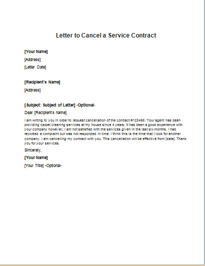 Cancel Credit Agreement Letter sle letter to cancel equipment lease agreement lease