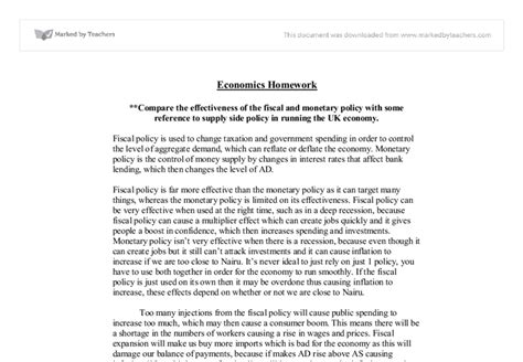 Compare And Contrast Fiscal And Monetary Policy Essay by Compare The Effectiveness Of The Fiscal And Monetary Policy With Some Reference To Supply Side