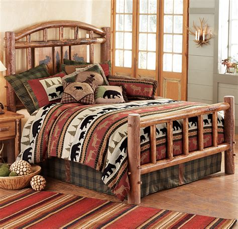 king size log bed rustic beds california king size moose creek log bed