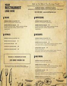 Free Food Menu Templates by Design Templates Menu Templates Wedding Menu Food